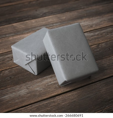 Grey mail package  - stock photo