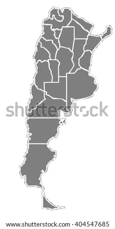 grey map of the argentinian state with white outline on white background with main internal borders - argentina map stylized - stock photo