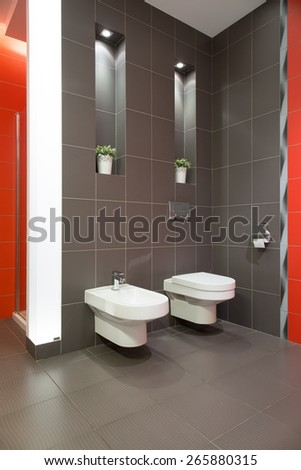 Grey marble restroom with toilet and bidet