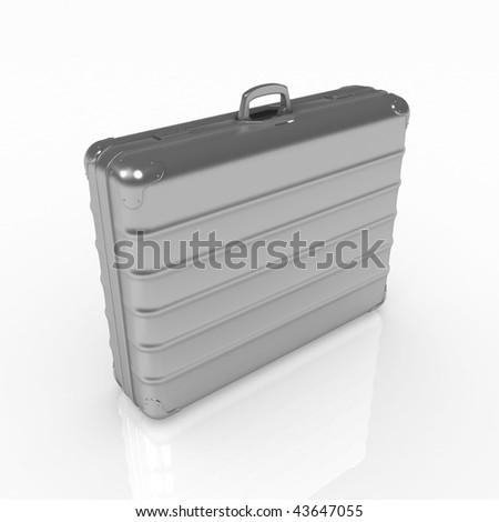 Grey metal 3d briefcase model, over white, isolated