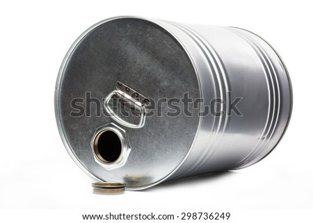 Grey metal oil and chemical drum over the white background, isolated - stock photo