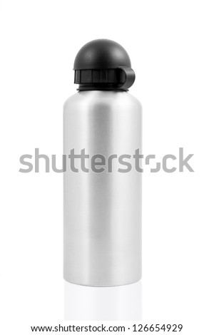 Grey metal water flask on a white background - stock photo