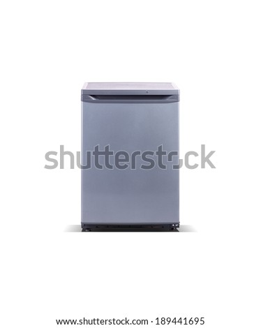 grey metallic small freezer - stock photo
