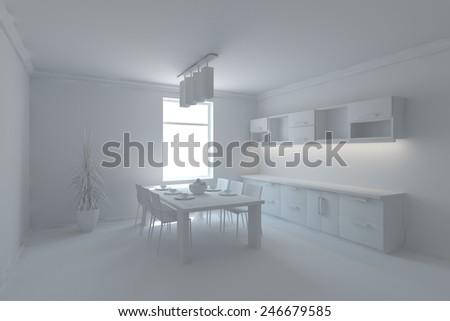 grey modern kitchen concept-3D rendering - stock photo