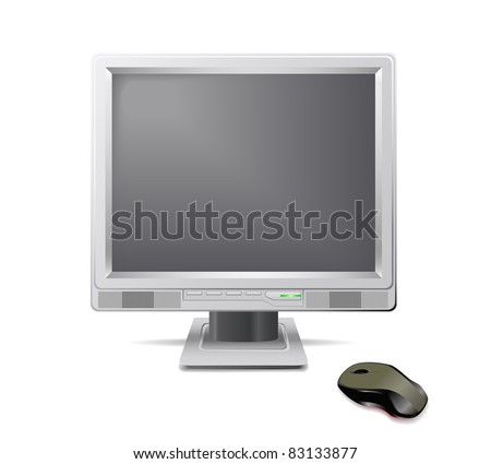 Grey monitor and mouse are shown in the picture.