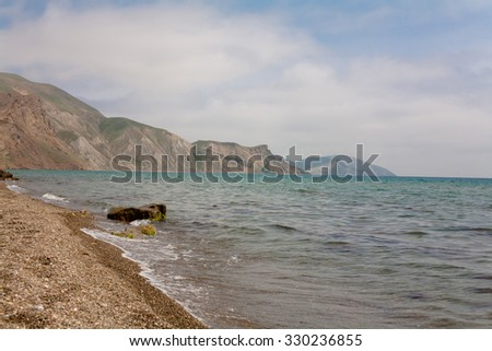 Grey mountains and blue sea in Crimea