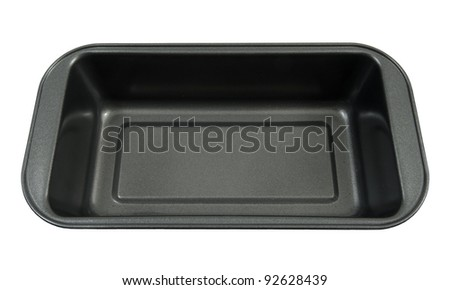 grey nonstick pan on a white background - stock photo