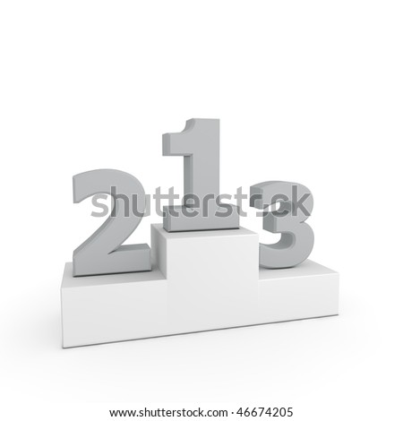 grey numbers 1, 2, 3 on a white victory podium - template style