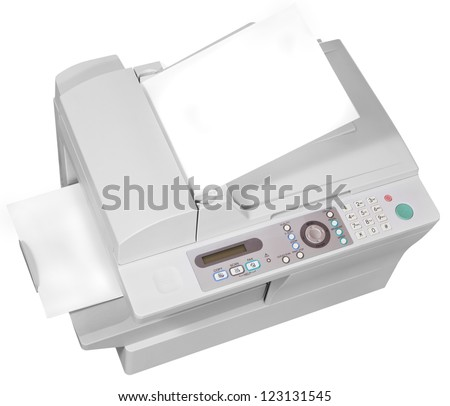 grey office multifunction device isolated on white background