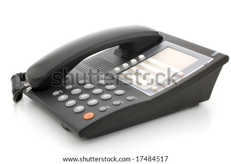 Grey office telephone isolated on white background - stock photo