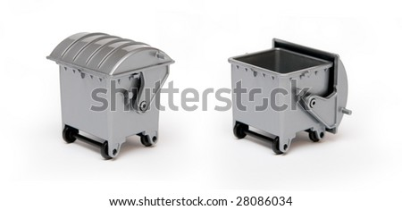 Grey open and close recycle bin on white background - stock photo