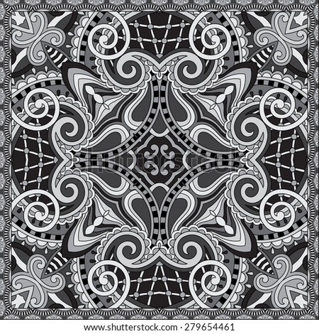 grey ornamental floral paisley bandanna. You can use this pattern in the design of carpet, shawl, pillow, cushion, black and white collection, raster version  - stock photo