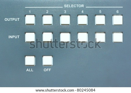 grey panel with the rows of buttons - stock photo
