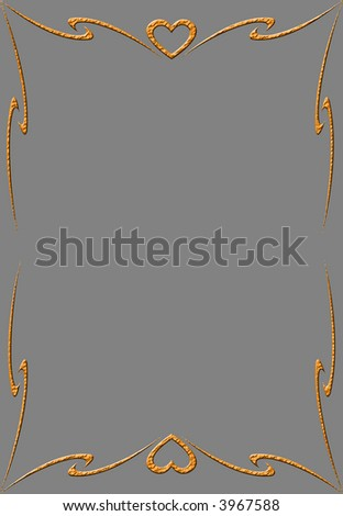 Grey paper with orange frame and heart - stock photo