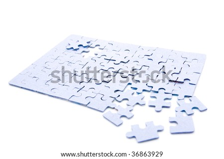grey pazly on a white background - stock photo