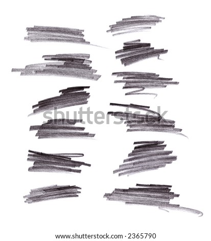 Grey Pencil Brush Strokes isolated on white