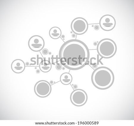 grey people diagram network connection illustration design over a white background - stock photo