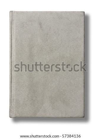 Grey plain velveteen notebook top view on isolated white background