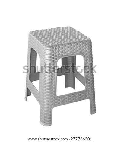 grey plastic chair isolated on white bsckground - stock photo