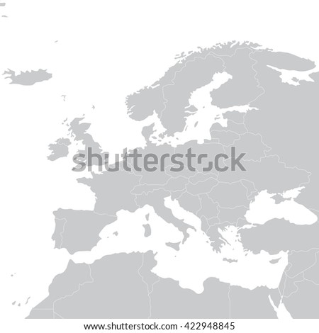 Grey political map of Europe. Political Europe map.  Europe illustration - stock photo
