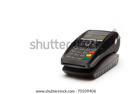 Grey Portable Credit Card Terminal on Base - stock photo