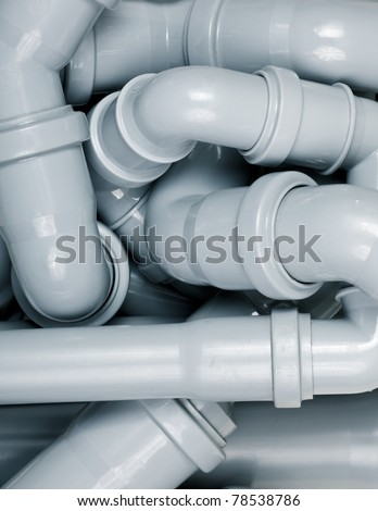 Grey PVC sewer pipes  background