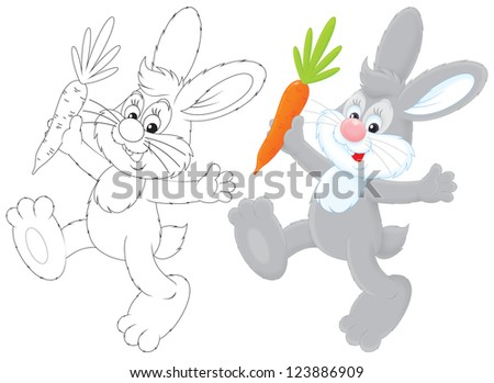 grey rabbit friendly smiling and jumping with a carrot, color and black-and-white outline illustrations on a white background - stock photo
