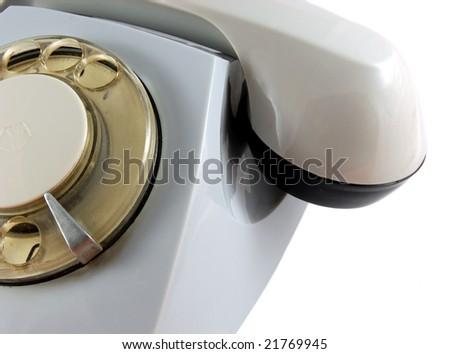 Grey retro Rotary Phone isolated on white background - stock photo
