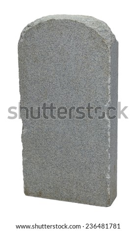 Grey Rock Grave Stone with Copy Space Isolated on White Background. - stock photo