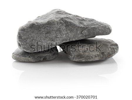 Grey rocks isolated on white background - stock photo