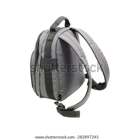 grey rucksack isolated on white - stock photo