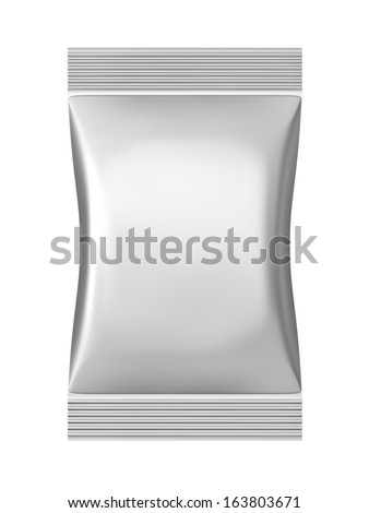 Grey sachet bag package with clipping path