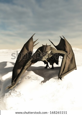 Grey scaled dragon prowling through a snowy winter landscape, 3d digitally rendered illustration - stock photo