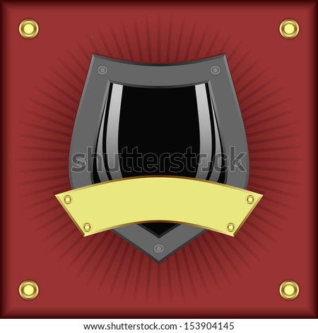 Grey shield and gold plate on a red background. EPS version is available as ID 127953536.