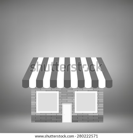 Grey Shop Icon on Grey Background for Your Design - stock photo