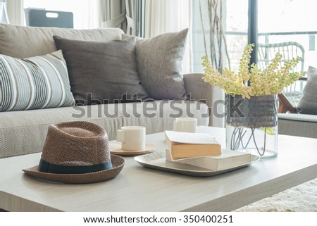 grey sofa and pillows with hat on wooden table in modern living room - stock photo