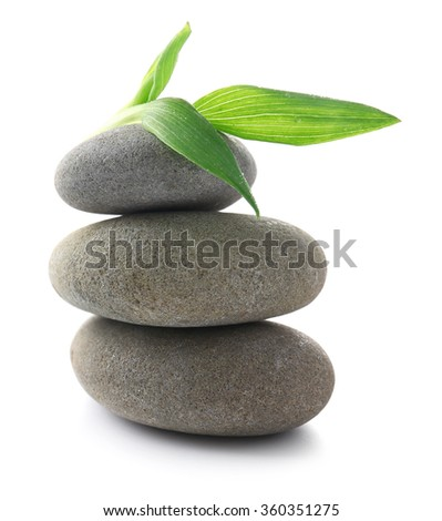 Grey spa stones and green flower, isolated on white - stock photo