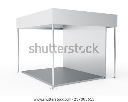 grey stall or booth for customizing. View from side - stock photo