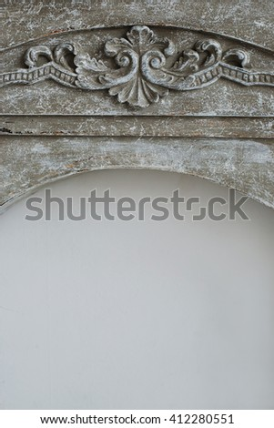 grey stone fireplace with pattern - stock photo