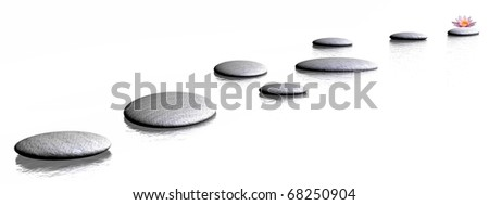 Grey stones steps to a pink lily flower in a white background - stock photo