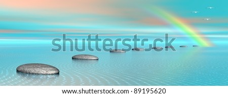 Grey stones steps upon the ocean going to a rainbow and birds flying next to it - stock photo
