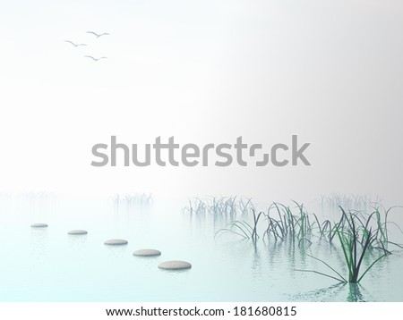 Grey stones steps upon the ocean going to white sun near grass - stock photo