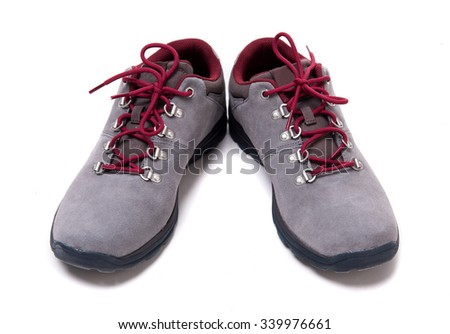 grey suede men shoes isolated on white background - stock photo