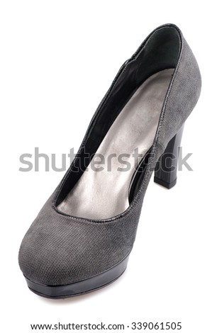 Grey suede shoe isolated on white background.Top view. - stock photo
