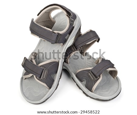 Grey summer sandals on a white background