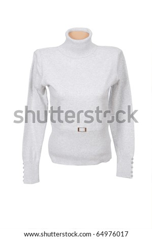 Grey sweater isolated on a white background. - stock photo
