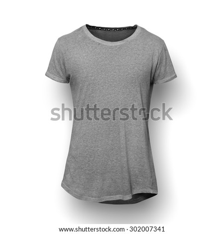 Grey t-shirt isolated on white background - stock photo