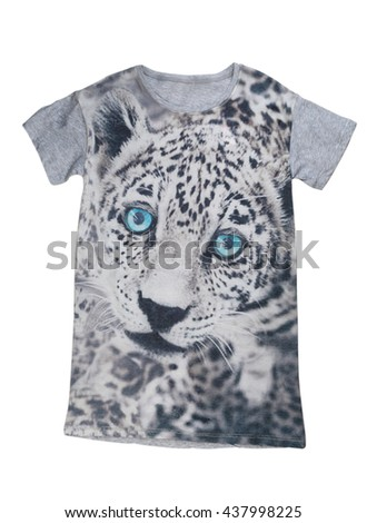 Grey T-shirt with print tiger. Isolate on white. - stock photo