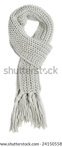 Grey textile scarf isolated on white background - stock photo