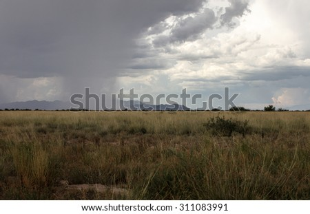 Grey thunderhead cloud produces rain shower over semi-desert grassland prairie/Dark Gray Thunderstorm Cloud with Rain Shower in Rural Semi Desert Prairie Landscape/Thunderstorm and rain on prairie - stock photo